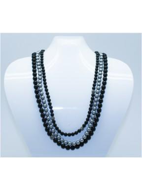 Collar Triple Perlas (negro y gris) + 4 Bolas Simil