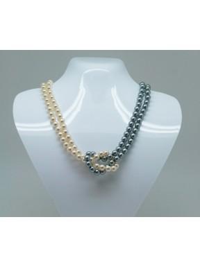 Collar Perlas Bola 8mm Gris Y Crema Con Nudo