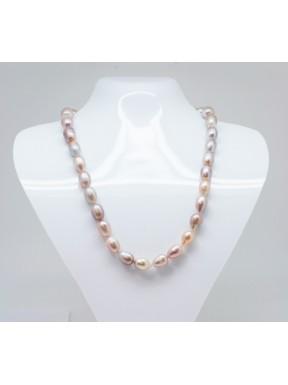 Collar Perla De Rio Rosada Bola Oval 10 mm