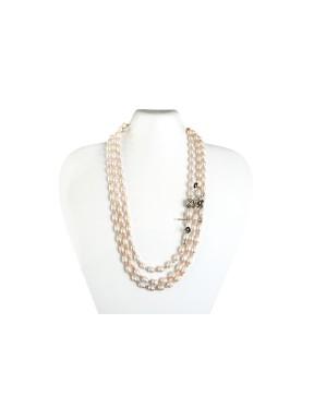 Collar 3 Vias Perla Natural + Abalorio  Plata + Bola Coral