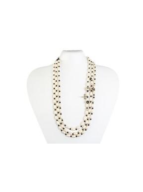 Collar 3 Vias Perla Natural + Abalorio  Plata + Bola Negra