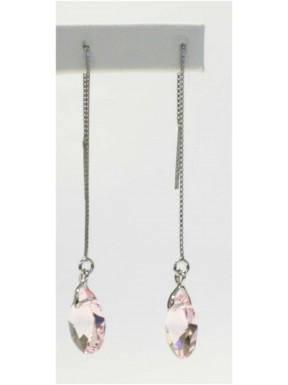 Pendiente Palo Plata +Bola Perla + Swarovski Cristal Rosa Ovalado
