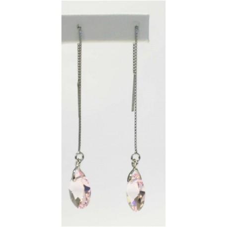 Pendiente Palo Plata + Swarovski Cristal Rosa Ovalado