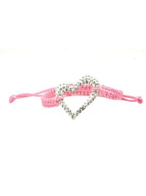 Pulseras Trenzada rosa + Motivo Corazón Plata Y Simil