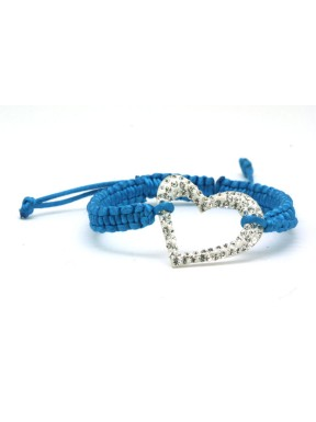Pulseras Trenzada Azul + Motivo Corazón Plata Y Simil